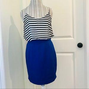 Black and blue striped mini